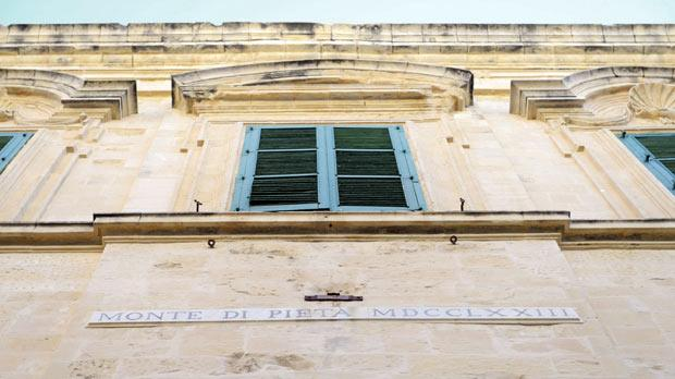 At Valletta's Monte di Pietà, gold and silver artefacts and precious jewellery are accepted as security against loans with a five per cent interest rate.