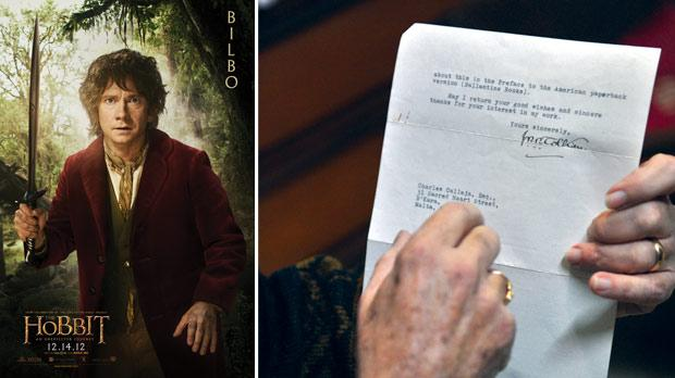 The Hobbit film poster. Right: The 1966 letter, signed by J.R.R. Tolkien.