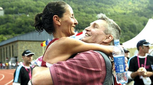 Malta Marathon founder and coach JohnWalsh died yesterday during his morning jog. He is seen here celebrating with his future wife and marathon champion Carol Galea during the Small Nations Games in Andorra in 2005. Photo:DarrinZammit Lupi