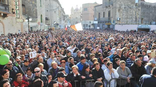 Tal-Ajkla election candidate Nazzareno Bonnici (right) addressed a surprisingly large crowd at Żabbar yesterday afternoon, though it was not clear whether those present showed up to listen to his policies or take an amusing break from the long electoral campaign. Photos: Chris Sant Fournier