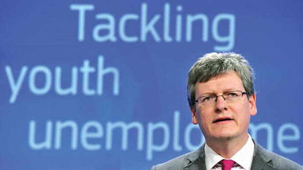 EU Employment, Social Affairs and Inclusion Commissioner Laszlo Andor speaking about proposals to fight youth unemployment. Photo: Georges Gobet/AFP