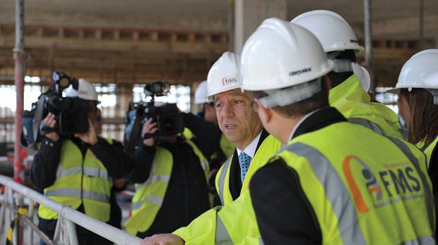 The Prime Minister during a visit to the Oncology Hospital being built at Mater Dei Hospital. Photo: Matthew Mirabelli