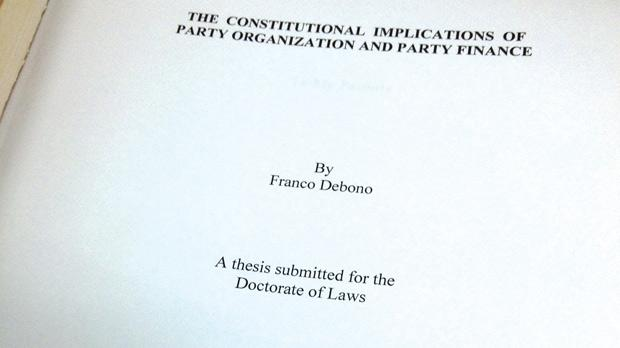 Some arguments made by Franco Debono in his doctoral thesis contradict his actions today.