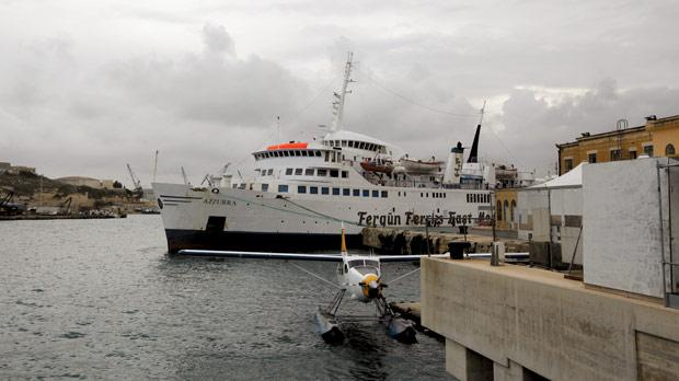M/F Azzurra is ready to take on passengers and vehicles for its twice weekly service to Tripoli.