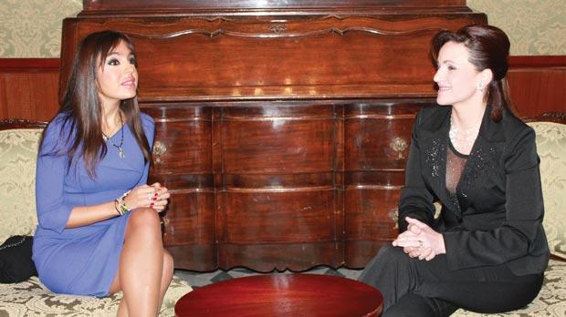 Michelle Muscat and Leyla Aliyeva at Girgenti Palace last February.