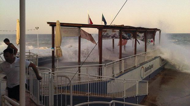 The freak waves crashing onto the Sliema seafront on Tuesday. Photo: Daniela Said
