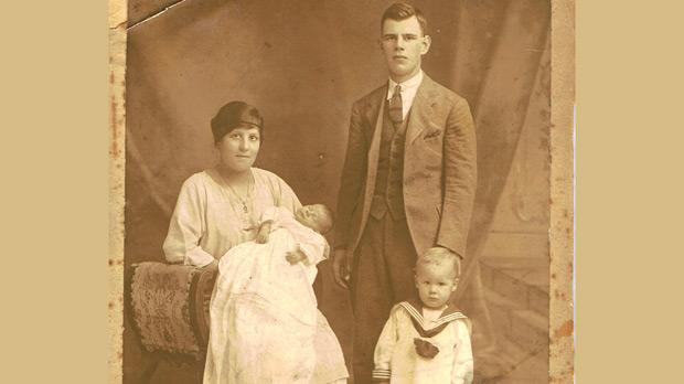 Gillian's grandmother Maria Assunta holding Gillian's mother, Esther, with her grandfather Frank Maudlom Spenceley and her uncle Arthur as a young boy.