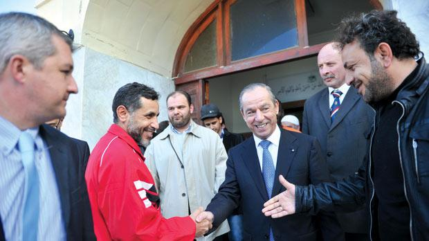 Prime Minister Lawrence Gonzi at the Paola mosque yesterday. Photo: Jason Borg