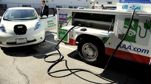 An American Automobile Association (AAA) roadside assistance truck ready to charge a Nissan Leaf at the unveiling of North America's first roadside assistance trucks capable of charging electric vehicles in Los Angeles, California. Photos: Robyn Beck/AFP