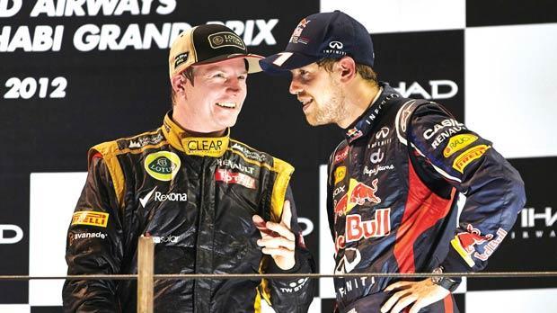 Kimi Raikkonen and Sebastian Vettel in Abu Dhabi.