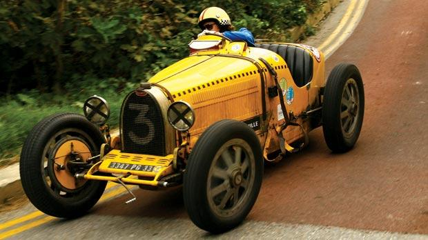 One of the classic Bugattis racing at the Mdina GP.