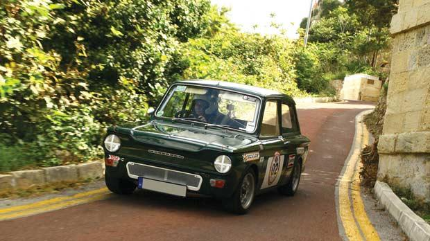 Robert Calafato driving his impeccable Hillman Imp. Photos: Pierre Vella