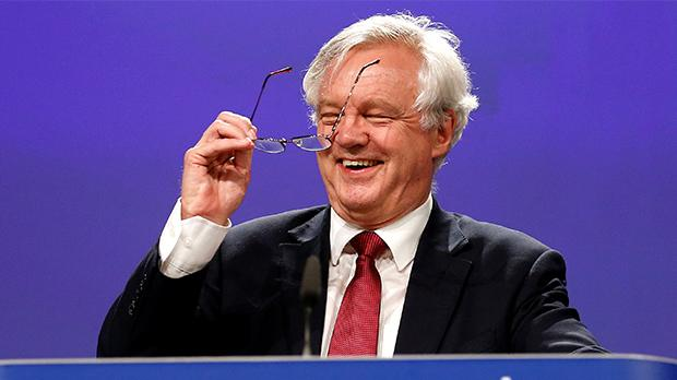 Britain's Secretary of State for Exiting the European Union David Davis speaks at the European Commission after the first day of Brexit talks in Brussels, Belgium. Photo:Francois Lenoir/Reuters