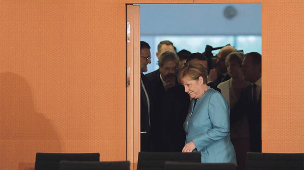 German Chancellor Angela Merkel prior to a gathering of European leaders on the upcoming G-20 summit in the chancellery in Berlin Germany