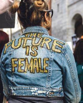 Woman's jacket at rally in Los Angeles, California, January 2017. Photo: Jack Sutton/Shutterstock