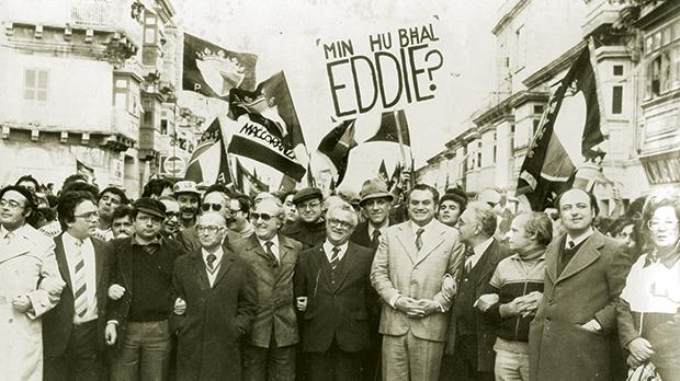 Eddie Fenech Adami's PN affirmed its Christian Democrat credentials, as well as its long roots in the party's history. Photo taken during a 'March for Democracy' in 1982.