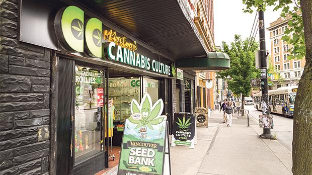 The Mark Emery's Cannabis Culture store is one of the many vendors in an area that sells marijuana and various related items in Vancouver, Canada.