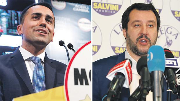 Five Star's Luigi di Maio (left) and the League's Matteo Salvini saw a surge in support for their parties.