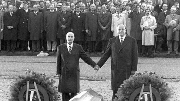 French President François Mitterrand and German Chancellor Helmut Kohl in November 1984, at Douaumont cemetery, close to Verdun, World War 1 historic battlefield.