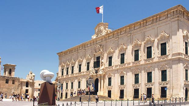 "The Office of the Prime Minister in Valletta: ""The State is the guardian and guarantor of your human rights. Human rights are a matter between you and the State."" Photo: theendup/Shutterstock.com"