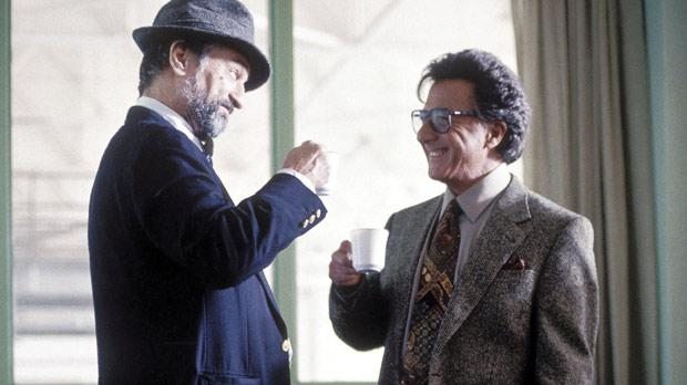 Robert De Niro and Dustin Hoffman discover what happens when a US presidential candidate gets involved in a sex scandal in Wag the Dog.