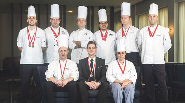 The InterContinental Malta's kitchen brigade proudly displaying their medals.
