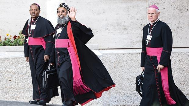 Bishops arrive for the synod of 262 Church leaders at the Vatican.