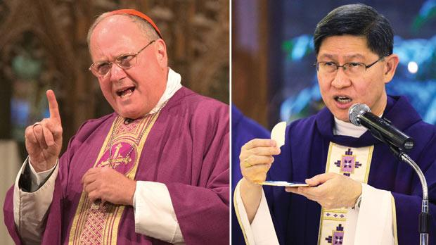 New York Cardinal Timothy Dolan, 63, and Cardinal Luis Antonio Tagle, Archbishop of Manila, 55, are among the contenders for the top Vatican post. Photos: Reuters