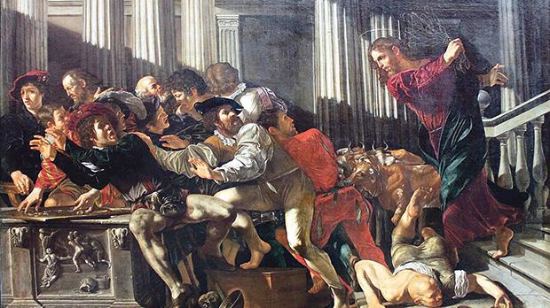 Christ Driving the Money Changers from the Temple, by Cecco del Caravaggio,1610.