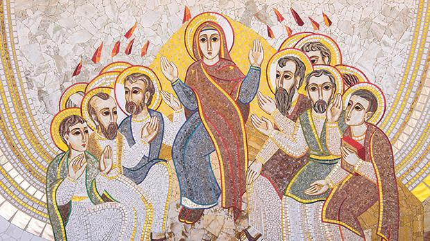 One of the mosaics lining the parvis at Ta' Pinu sanctuary, Għarb, showing the Holy Spirit descending as tongues of fire on Mary and the Apostles.