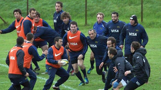 Argentina national team rugby players practising in Cape Town yesterday.