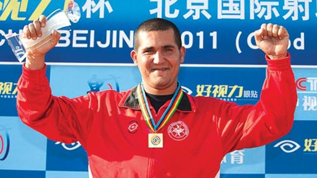 William Chetcuti on the podium in Beijing, yesterday. Photo: ISSF
