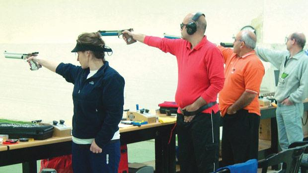 Air pistol shooters take aim during the open 10m event last weekend.