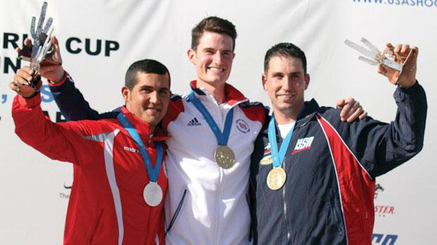 William Chetcuti (left) stands on the podium after winning the silver medal at a World Cup shoot in the US.