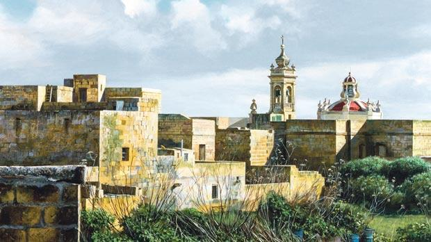 Andrew Micallef's latest paintings depicting the natural beauty of Gozo are currently exhibited in Victoria including Taċ-Ċawl Rocks (left) and The Hamlet – Sta Luċija.