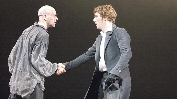 Jonny Lee Miller (left) and Benedict Cumberbatch alternate roles as Frankenstein and his creature in Danny Boyle's production for the National Theatre.