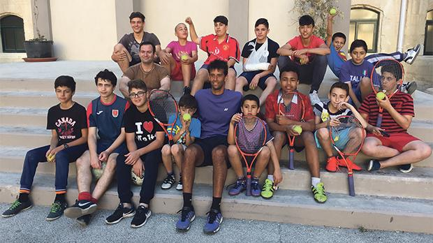Michael-Ray Pallares with some of the boys of St Patrick's in Sliema.