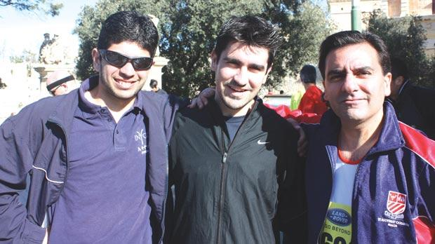Anthony Mifsud, Massimo Farrugia and Fr Patrick Magro, who started off the Run For Others for Jesuit Missions three years ago.