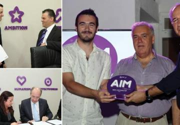 Top left: Tyrone Mizzi with Simon Grech. Above: Gavin Brewes being presented with the best contributor award by chairman Michael Frendo and CEO Joaquim...        