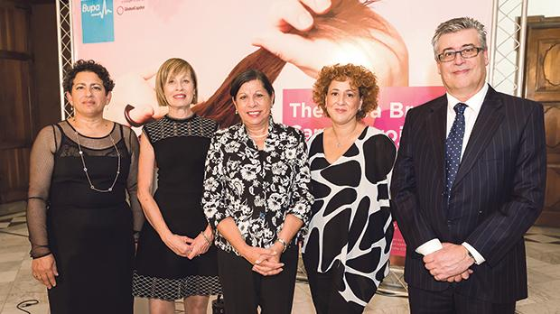 Action for Breast Cancer Foundation chairperson Esther Sant, director and consultant Bupa Malta Adriana Zarb Adami, Acting President Dolores Cristina, Bernice Micallef and Bupa branch manager Charles Zarb.