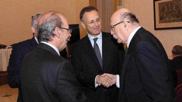 Malta's former ambassador to Italy Joseph Cassar, Italian Ambassador Giovanni Umberto De Vito and Mr Justice Giovanni Bonello.