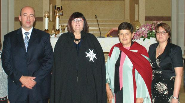 Jesmond Sharples, nursing director Malta, Prof. Donna Mead, dean of the Faculty of Life Sciences and Education, University of South Wales, Prof. Donia Baldacchino and Dr Roberta Sammut, head of the Nursing Department, at the chapel of Our Lady of the Miraculous Medal in Blata l-Bajda.