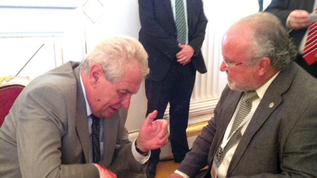 Czech President Milos Zeman (left) in conversation with the Honorary Consul General of the Czech Republic in Malta Tonio Casapinta.