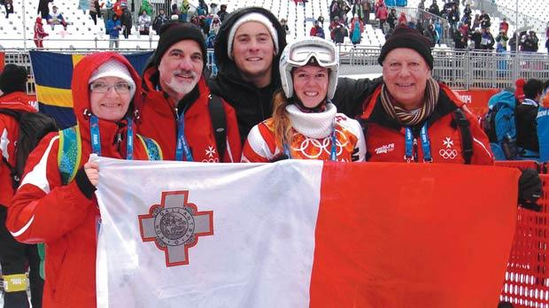 Elise Pellegrin (second right) poses with the Maltese Olympic Committee officials and her coach at the Rhosa Khutor Alpine Centre in Sochi, yesterday.