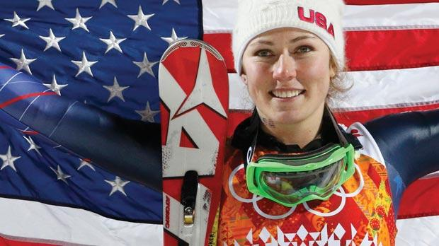Mikaela Shiffrin, winner of the women's slalom in Sochi, yesterday.