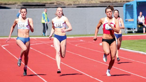 Charlotte Wingfield (right) winning the 200m race in Reykjavik on Saturday.