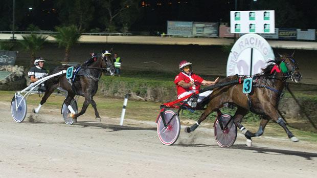 Quartz De Vindecy on his way to winning the Premier Class final at the Marsa Racetrack on Friday night. Photo: Roderick Cachia