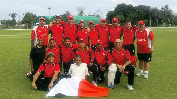 The Malta national team after their series victory over Hungary at Marsa.