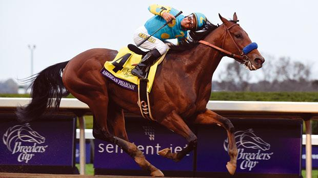 Victor Espinoza reacts as American Pharaoh wins the Breeders Cup at Keeneland Racecourse.