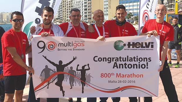 Antonio Grotto (third right) with his team-mates at the end of the Malta Marathon last month.